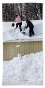 Removing Snow From A Building Beach Towel