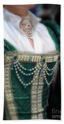 Renaissance Lady In Green Beach Towel
