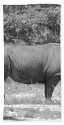 Rhino In Black And White Beach Towel