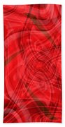 Ribbons Of Red Abstract Beach Towel