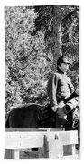 Riding Soldiers B And W II Beach Towel