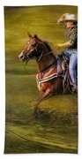 Riding Thru The Meadow Beach Towel by Susan Candelario