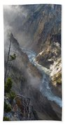 Rising Mists From Grand Canyon Of The Yellowstone Beach Towel