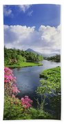 River Leading To A Mountain Beach Towel