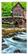 River Rock And A Grist Mill Beach Towel