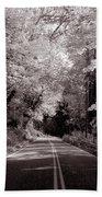 Road Through Autumn - Black And White Beach Towel