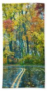 Roadway After The Rain  Beach Towel