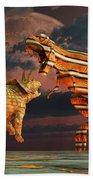 Robotic T. Rex & Triceratops Battle Beach Towel