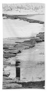 Rock Lake Crossing In Black And White  Beach Towel