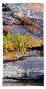 Rock Shrub And Bluff At Cumberland Falls State Park Beach Towel