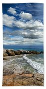 Rocky Coast In Malibu California Beach Towel