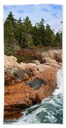 Rocky Maine Coastline. Beach Towel