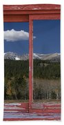 Rocky Mountain Autumn Red Rustic Picture Window Frame Photos Art Beach Towel