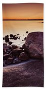 Rocky Shore At Twilight Beach Towel