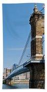 Roebling Bridge To Cincinnati Beach Towel
