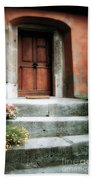 Roman Door And Steps Rome Italy Beach Towel