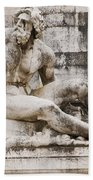 Roman Statue With Pigeon And Wildflowers Beach Towel