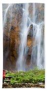 Romantic Scenery By The Waterfall Beach Towel