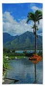 Rooftop Fountain In Paradise Beach Towel
