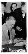 Roosevelt Signing Declaration Of War Beach Towel