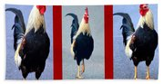 Rooster Triptych Beach Towel
