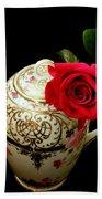 Rose With China Teapot Beach Towel