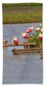 Roseate Spoonbills And Snowy Egrets Beach Towel
