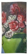 Roses And Green Vase Beach Towel