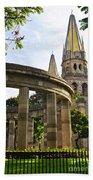 Rotunda Of Illustrious Jalisciences And Guadalajara Cathedral Beach Towel