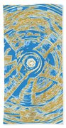 Round And Round Blue And Gold Beach Towel