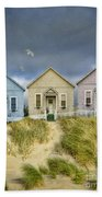Row Of Pastel Colored Beach Cottages Beach Towel