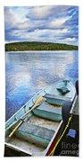 Rowboat Docked On Lake Beach Sheet