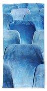 Rows Of Blue Chairs Beach Towel by Carlos Caetano