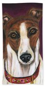 Royalty - Greyhound Painting Beach Towel by Michelle Wrighton
