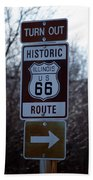 Rt 66 Il Turn Out Signage Beach Towel