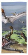 Rugops Primus Dinosaurs And Alanqa Beach Towel