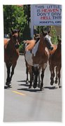 Running The Horses Beach Towel