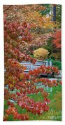 Rust Colored Leaves Over Autumn Pond Beach Towel