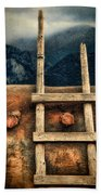 Rustic Ladder On Adobe House Beach Towel