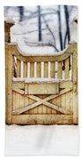 Rustic Wooden Gate In Snow Beach Towel