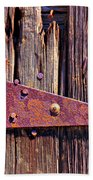 Rusty Barn Door Hinge  Beach Towel