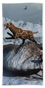 Sabre-toothed Tigers Battle Beach Towel