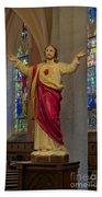 Sacred Heart Of Jesus Beach Towel
