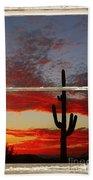 Saguaro Sunset Picture Window View Beach Towel