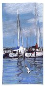 Sailboats And Seagulls Beach Towel