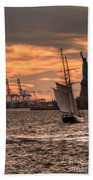 Sailing To Liberty  Beach Towel