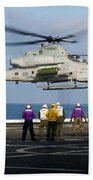 Sailors And Marines Watch An Ah-1z Beach Towel