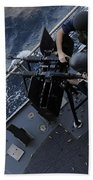 Sailors Fire A Dual-mounted M240 Beach Towel