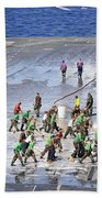 Sailors Perform A Flight Deck Wash Beach Towel