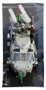 Sailors Perform Maintenance On Mh-60s Beach Towel